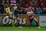 GLOUCESTER, ENGLAND - SEPTEMBER 22: Ollie Thorley of Gloucester scores the opening try  during the Aviva Premiership match between Gloucester Rugby and Worcester Warriors at Kingsholm Stadium on September 22, 2017 in Gloucester, England.  (Photo by Michael Steele/Getty Images)