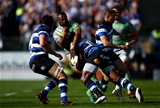 BATH, ENGLAND - SEPTEMBER 23:  Vereniki Goneva of Newcastle is tackled by Semesa Rokoduguni of Bath during the Aviva Premiership match between Bath Rugby and Newcastle Falcons at Recreation Ground on September 23, 2017 in Bath, England.  (Photo by Jordan Mansfield/Getty Images)