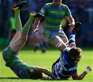 BATH, ENGLAND - SEPTEMBER 23: Elliott Stooke of Bath Rugby is stopped in his tracks by Simon Hammersley of Newcastle Falcons during the Aviva Premiership match between Bath Rugby and Newcastle Falcons at the Recreation Ground on September 23, 2017 in Bath, England. (Photo by Harry Trump/Getty Images)
