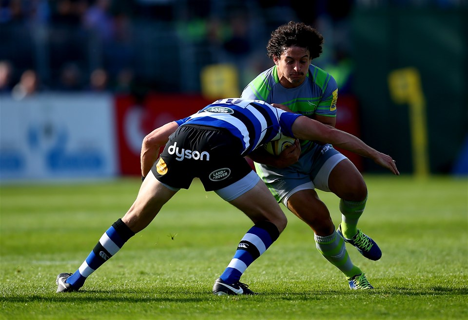 BATH, ENGLAND - SEPTEMBER 23:  Juan Pablo Socino of Newcastle is tackled by Rhys Priestland of Bath during the Aviva Premiership match between Bath Rugby and Newcastle Falcons at Recreation Ground on September 23, 2017 in Bath, England.  (Photo by Jordan Mansfield/Getty Images)