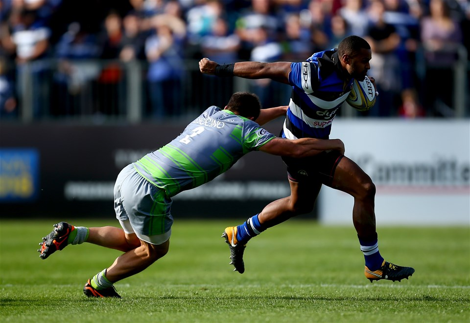 BATH, ENGLAND - SEPTEMBER 23:  Aled Brew of Bath is tackled by Santiago Socino of Newcastle during the Aviva Premiership match between Bath Rugby and Newcastle Falcons at Recreation Ground on September 23, 2017 in Bath, England.  (Photo by Jordan Mansfield/Getty Images)