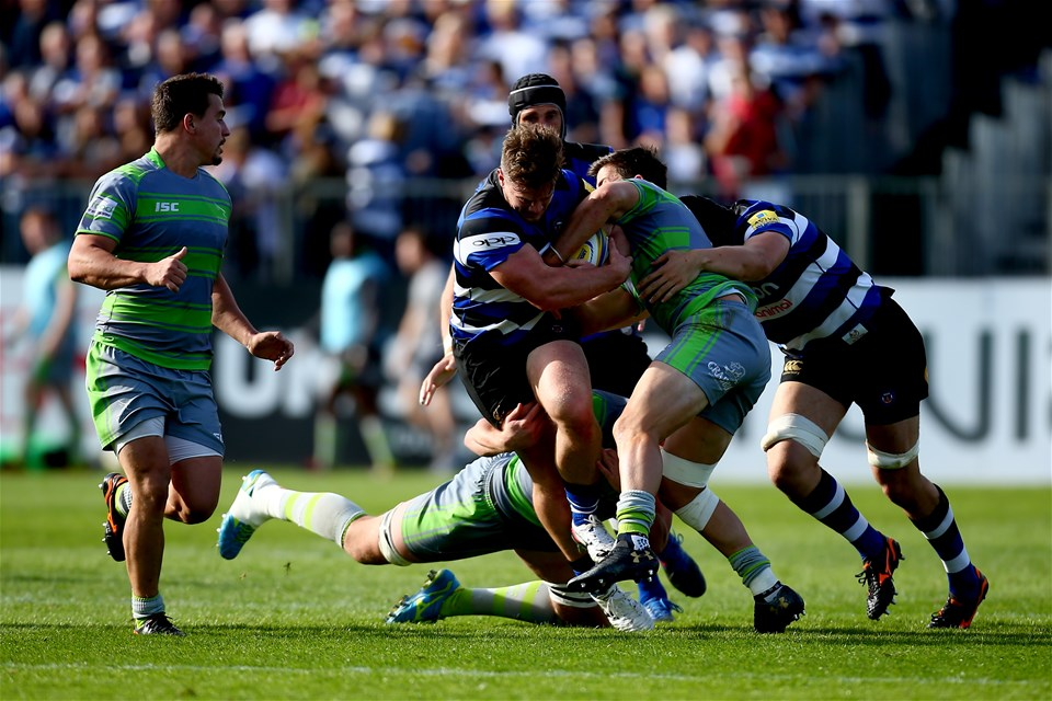 BATH, ENGLAND - SEPTEMBER 23:  Nick Auterac of Bath is tackled by DTH van der Merwe of Newcastle during the Aviva Premiership match between Bath Rugby and Newcastle Falcons at Recreation Ground on September 23, 2017 in Bath, England.  (Photo by Jordan Mansfield/Getty Images)