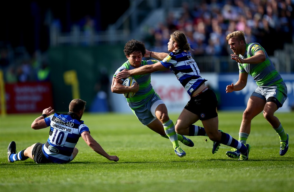 BATH, ENGLAND - SEPTEMBER 23:  Juan Pablo Socino of Newcastle is tackled by Max Clark of Bath during the Aviva Premiership match between Bath Rugby and Newcastle Falcons at Recreation Ground on September 23, 2017 in Bath, England.  (Photo by Jordan Mansfield/Getty Images)