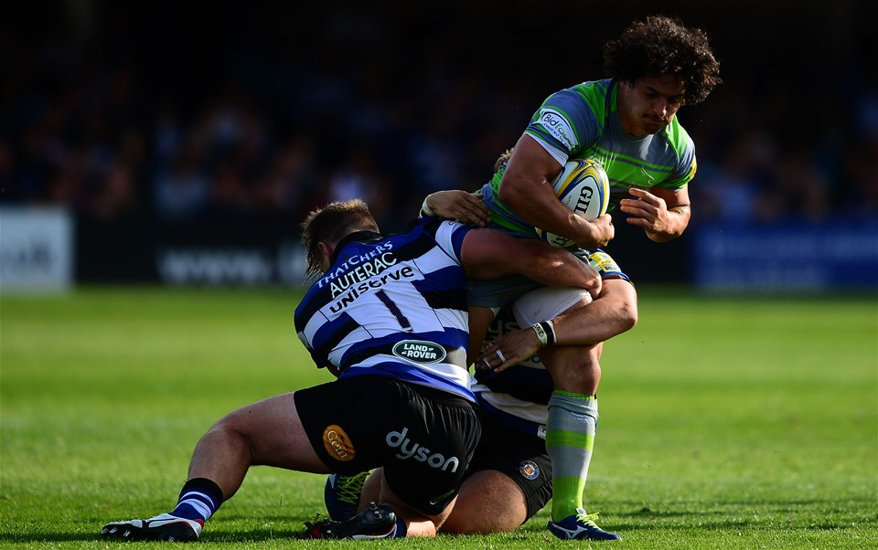 BATH, ENGLAND - SEPTEMBER 23: Juan Pablo Socino of Newcastle Falcons looks to break past Nick Auterac of Bath Rugby and Chris Cook of Bath Rugby during the Aviva Premiership match between Bath Rugby and Newcastle Falcons at the Recreation Ground on September 23, 2017 in Bath, England. (Photo by Harry Trump/Getty Images)
