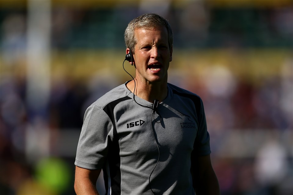 BATH, ENGLAND - SEPTEMBER 23:  Dave Walder, Head Coach of Newcastle Falcons during the Aviva Premiership match between Bath Rugby and Newcastle Falcons at Recreation Ground on September 23, 2017 in Bath, England.  (Photo by Jordan Mansfield/Getty Images)