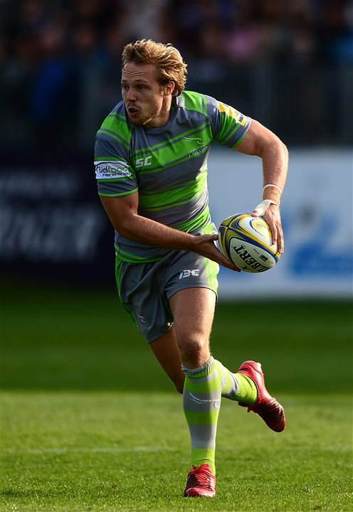 BATH, ENGLAND - SEPTEMBER 23: Joel Hodgson of Newcastle Falcons during the Aviva Premiership match between Bath Rugby and Newcastle Falcons at the Recreation Ground on September 23, 2017 in Bath, England. (Photo by Harry Trump/Getty Images)