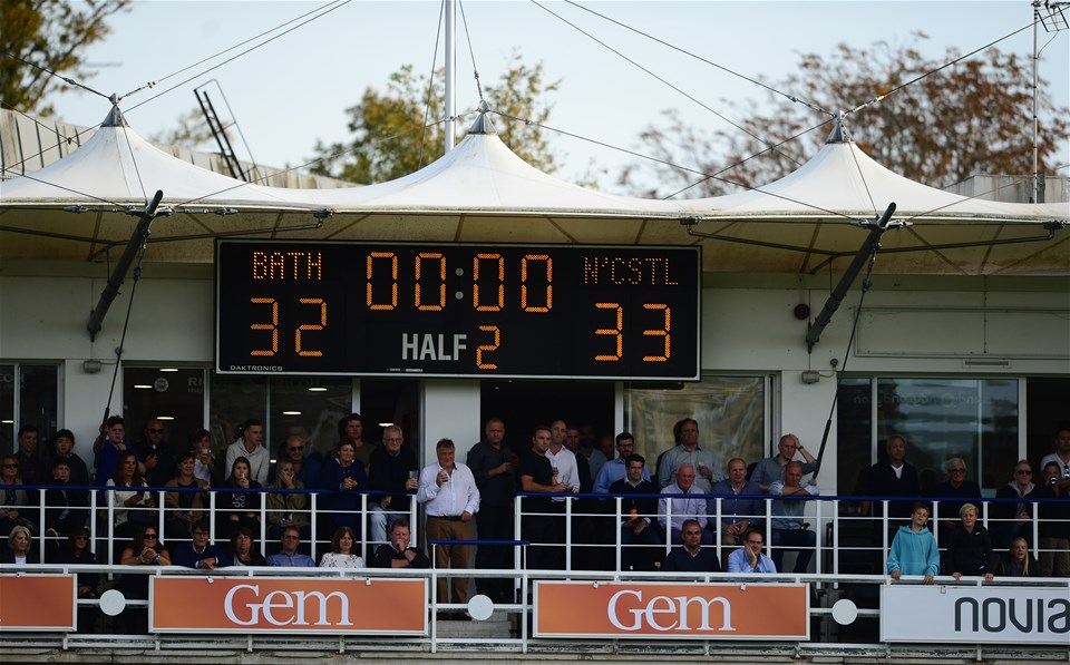 BATH, ENGLAND - SEPTEMBER 23: Detailed view of the final scoreline during the Aviva Premiership match between Bath Rugby and Newcastle Falcons at the Recreation Ground on September 23, 2017 in Bath, England. (Photo by Harry Trump/Getty Images)
