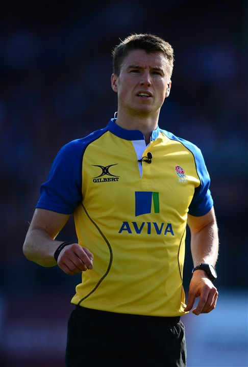 BATH, ENGLAND - SEPTEMBER 23: Match Referee Craig Maxwell-Keys during the Aviva Premiership match between Bath Rugby and Newcastle Falcons at the Recreation Ground on September 23, 2017 in Bath, England. (Photo by Harry Trump/Getty Images)