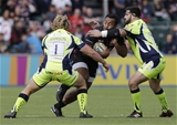 BARNET, ENGLAND - SEPTEMBER 23: Billy Vunipola of Saracens tackled by Ross Harrison (L) and Rob Webber of Sale Sharks during the Aviva Premiership match between Saracens and Sale Sharks at Allianz Park on September 23, 2017 in Barnet, England. (Photo by Henry Browne/Getty Images)