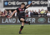 BARNET, ENGLAND - SEPTEMBER 23: Owen Farrell of Saracens converts a try during the Aviva Premiership match between Saracens and Sale Sharks at Allianz Park on September 23, 2017 in Barnet, England. (Photo by Henry Browne/Getty Images)
