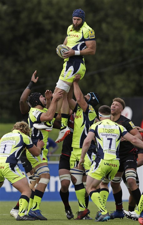 BARNET, ENGLAND - SEPTEMBER 23: Josh Strauss of Sale Sharks wins a lineout during the Aviva Premiership match between Saracens and Sale Sharks at Allianz Park on September 23, 2017 in Barnet, England. (Photo by Henry Browne/Getty Images)