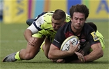 BARNET, ENGLAND - SEPTEMBER 23: Marcelo Bosch of Saracens tackled by Tom Curry (r) and Mark Jennings of Sale Sharks during the Aviva Premiership match between Saracens and Sale Sharks at Allianz Park on September 23, 2017 in Barnet, England. (Photo by Henry Browne/Getty Images)