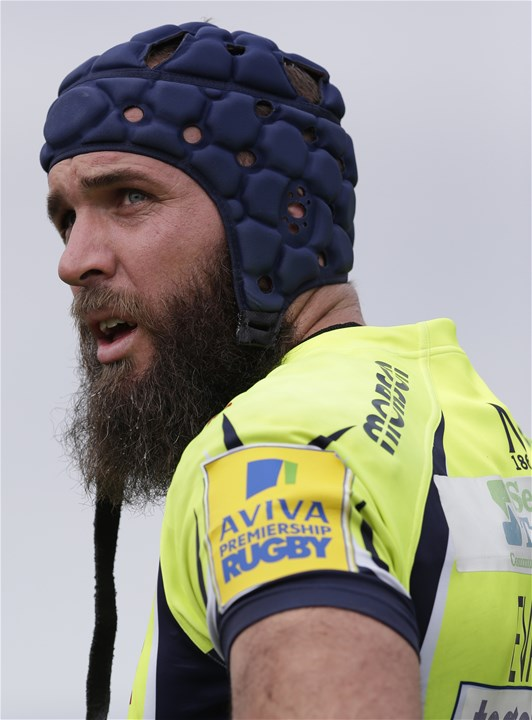 BARNET, ENGLAND - SEPTEMBER 23: Bryn Evans of Sale Sharks during the Aviva Premiership match between Saracens and Sale Sharks at Allianz Park on September 23, 2017 in Barnet, England. (Photo by Henry Browne/Getty Images)