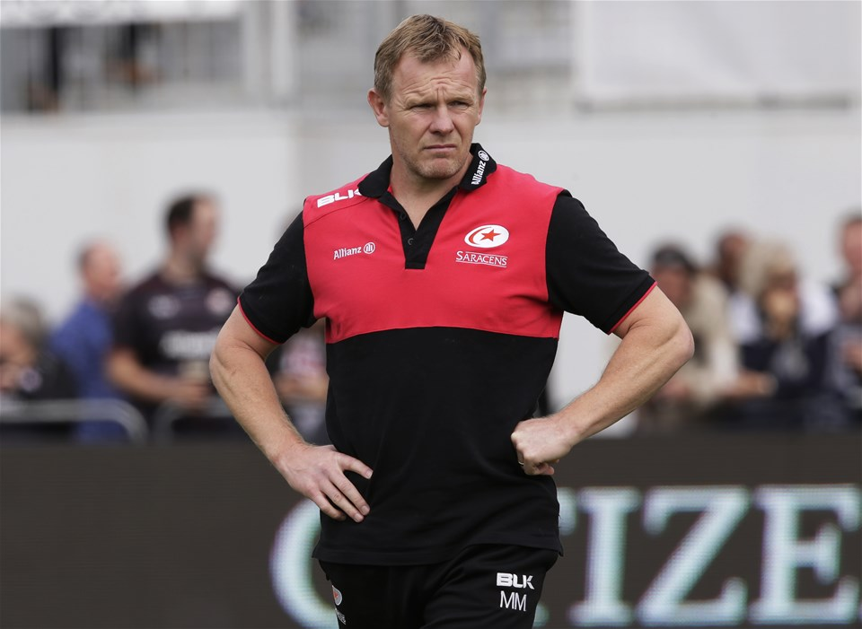 BARNET, ENGLAND - SEPTEMBER 23: Mark McCall of Saracens during the Aviva Premiership match between Saracens and Sale Sharks at Allianz Park on September 23, 2017 in Barnet, England. (Photo by Henry Browne/Getty Images)