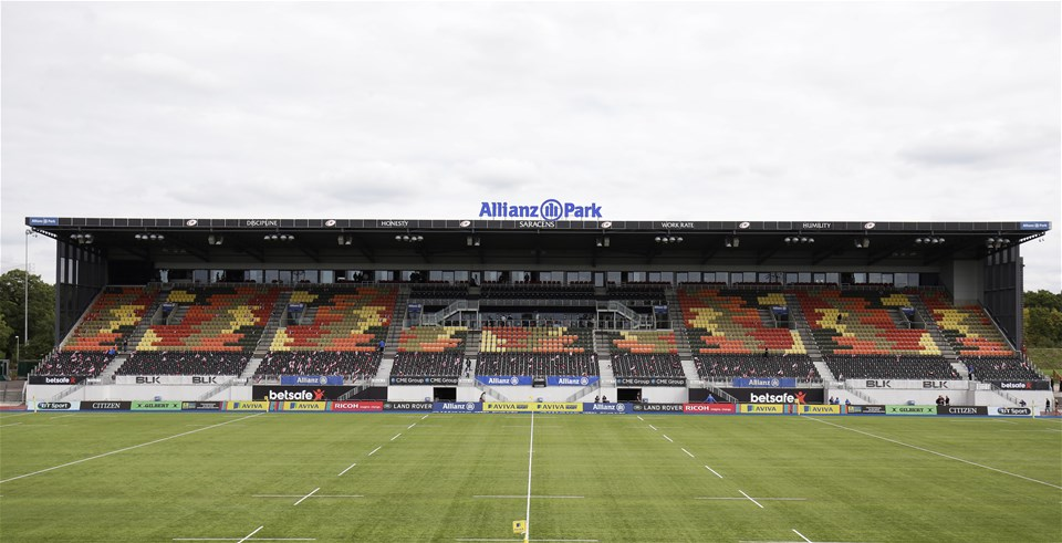 BARNET, ENGLAND - SEPTEMBER 23: General view of Allianz Park before the Aviva Premiership match between Saracens and Sale Sharks at Allianz Park on September 23, 2017 in Barnet, England. (Photo by Henry Browne/Getty Images)